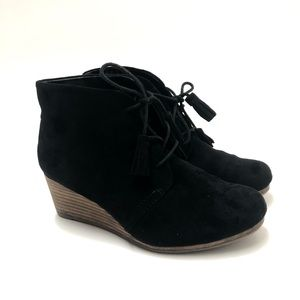Dr Scholl's Black Wedge Tassel Ankle Boots